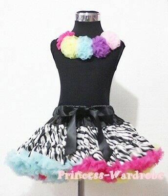 Rainbows Zebra Pettiskirt with Black Pettitop Top in Rainbow Rosettes Set 1-8Y