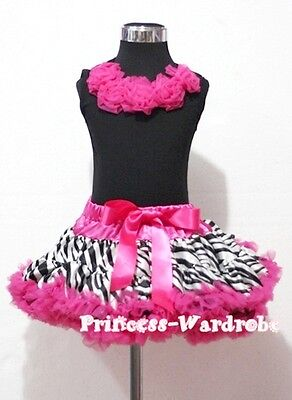 Hot Pink Zebra Pettiskirt with Black Pettitop Top in Hot Pink Rose Set 1-8Year