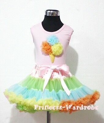 Pale Rainbows Style Pettiskirt with Light Pink Top Rainbows Ice Cream Set 1-8Y