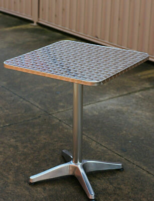 Square Table 60 x 60 cm, Stainless, with Aluminium Tube, Cafe Table, New