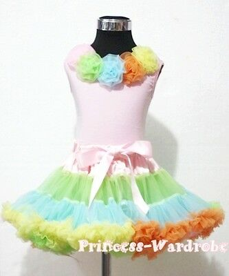 Pale Rainbows Style Pettiskirt with Pink Pettitop Top in Rainbow Rose Set 1-8Y