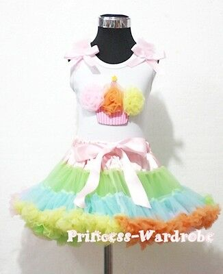Pale Rainbows Style Pettiskirt with White Top Rainbows Cupcake Set 1-8Year