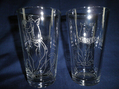 Scooby Doo Glasses (2)hand etched-mystery machine-cartoon