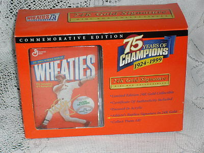 MARK MCGWIRE Miniature WHEATIES Box Collectibles 75 Years 24K Gold Signature