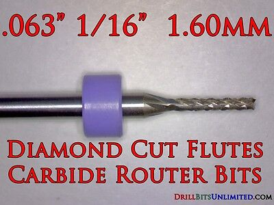 "Ten Pcs 1/16"" Diamond Flute Carbide Routers - 1/8"" Shanks PCB CNC G10 FR4 URD140"