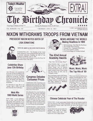 Birthday Newsletter Chronicle The Day and Year You Were Born Great Gift Idea!