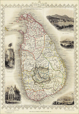A Map of Ceylon / Sri Lanka - large reproduction of a Tallis original dated 1851