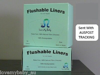Love My Baby, Organic Flushable Nappy Liners - 2 x 50pk  (100% Viscose)