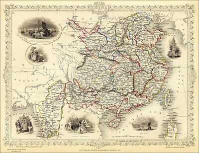 A Map of China - enlarged reproduction of a Tallis original dated 1851