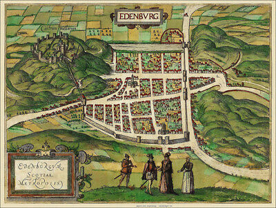 Old Map of Edinburgh in 1581 - a plan of the City by Georg Braun