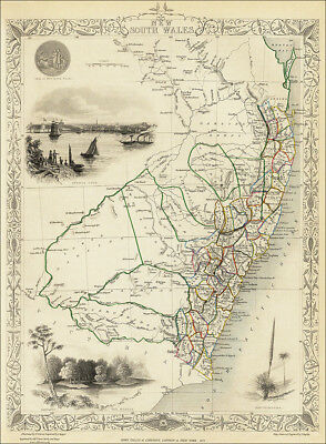 New South Wales, Australia, by Tallis 1851 - old map an enlarged reproduction