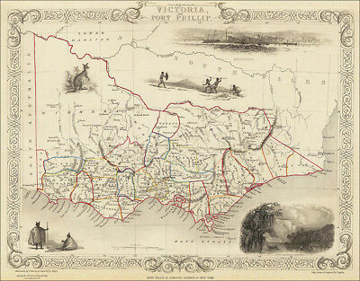 Victoria Australia, by Tallis 1851 - an enlarged old map reproduction