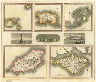 Old vintage repro map British Islands by Thomson 1817, Wight, Man, Jersey etc
