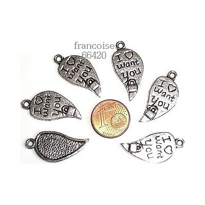 DEMI COEUR 26.5X12.5MM CREATION BIJOUX /_ B268 LOT 6 BRELOQUES CHARMS PERLES