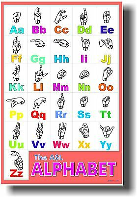 American Sign Language Alphabet - ASL Classroom Hearing Impaired NEW POSTER