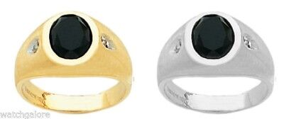 Mens 14k or 10k, Yellow or White Solid Gold Black Onyx Open Back Ring w/Diamonds