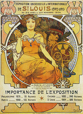 Vintage Style Travel Poster 20x28 Louis International Expo Mucha 1904 St