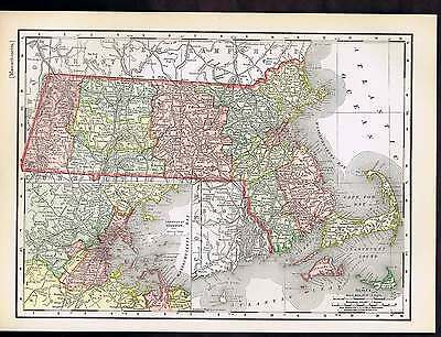 MASSACHUSETTS 1895 ANTIQUE State Map with County & City Lists ...