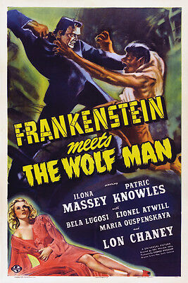 """Classic Movie - Frankenstein Meets The Wolf Man- 24""""x36"""" Giclee Print on Canvas"""