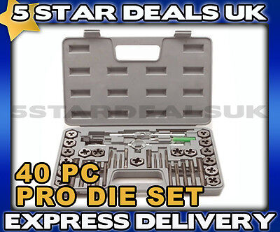 Brand New 40Pc Pro Tool Cutting Thread Tap Screw And Die Set With Storage Case
