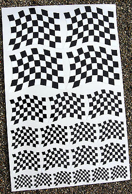 CAFE RACER style 'wavy' Chequered Flag stickers declas race bike superbike