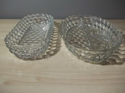 2 FOSTORIA AMERICAN RELISH TRAYS CANDY NUT DISH 3 PART DIVIDED