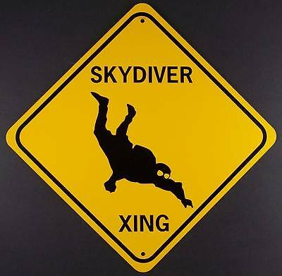 SKYDIVER XING  Aluminum Sign  Won't rust or fade