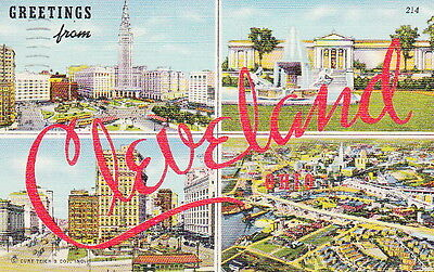 CLEVELAND OHIO GREETINGS - 1943 Dated LINEN POSTCARD