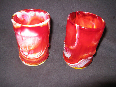 2 L G WRIGHT RED RUBY SLAG GLASS CHERRY TUMBLERS GLASS