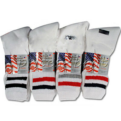 12 Pairs Mens Cotton Sports Socks With Stripes White Size 6 -11 Casual New