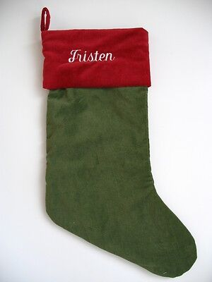 Pottery Barn GREEN VELVET Red Cuff Stocking New Personalized w/ the name TRISTEN