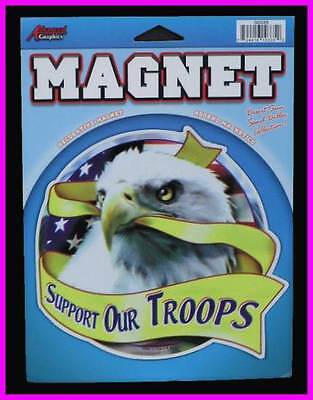 ** USA Flag and Eagle Head Support Our Troops Magnet with FREE Shipping NEW **