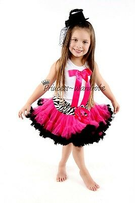 Zebra Waist Hot Pink Pettiskirt with White Pettitop Top in Hot Pink Bow Set 1-8Y