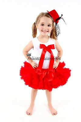 Xmas Hot Red Pettiskirt Tutu with White Pettitop Top in Hot Red Bow Set 1-8Year