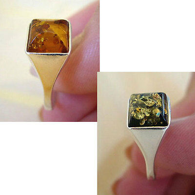 BALTIC GREEN or HONEY AMBER & STERLING SILVER RING VARIOUS SIZES