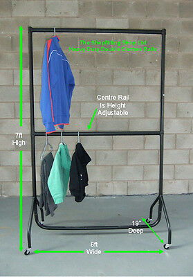 Heavy Duty Double Hanging Clothes Rail 6Ft Long X 7Ft High Garment Rail B/New