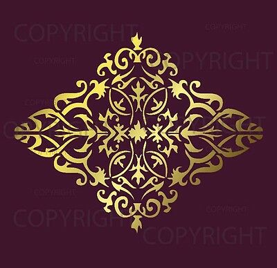 Large Wall Damask Stencil Pattern Faux Mural  #1022