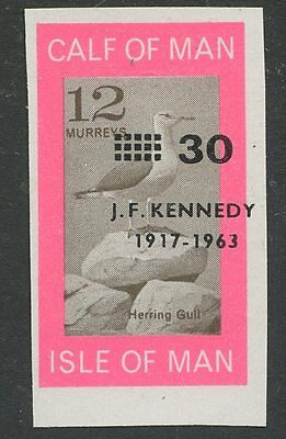 IOM Calf of Man 1966 KENNEDY misplaced ovpt 30/12m Gull bird imperf brown