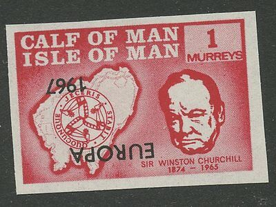 IOM Calf of Man 1967 Churchill 1m INVERTED EUROPA ovpt imperf proof