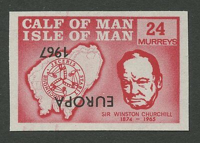 IOM Calf of Man 1967 Churchill 24m INVERTED EUROPA ovpt imperf proof