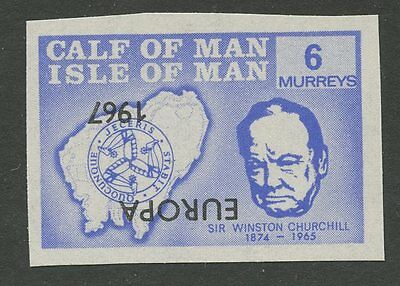 IOM Calf of Man 1967 Churchill 6m INVERTED EUROPA ovpt imperf proof