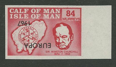 IOM Calf of Man 1967 Churchill 84m INVERTED EUROPA ovpt imperf proof