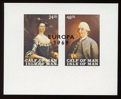 IOM Calf of Man 1969 Europa 1st Paintings Miniature Sheet MISSING INSCRIPTION