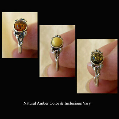 BALTIC GREEN BUTTERSCOTCH or HONEY AMBER STERLING SILVER HANDMADE RING