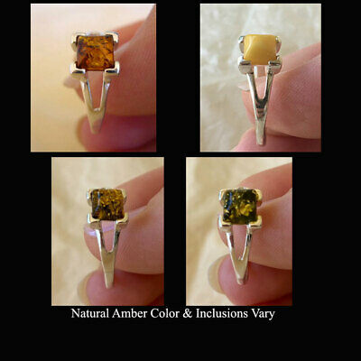 BALTIC GREEN, MULTICOLOR, BUTTERSCOTCH or HONEY AMBER & STERLING SILVER RING