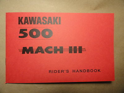1969 H1 Kawasaki 500 Mach III Rider's Handbook Owner's Manual Riders Owners Shop