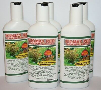 BIOMAX RED TROPICAL AQUARIUM PLANT FERTILIZER X5 bottles FREE P&P!!