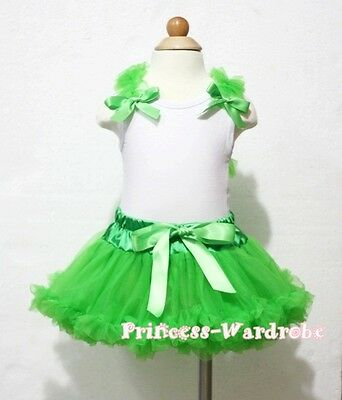 Xmas Newborn Baby Bright Green Pettiskirt Tutu Green Ruffle Bow White Top 3-12M