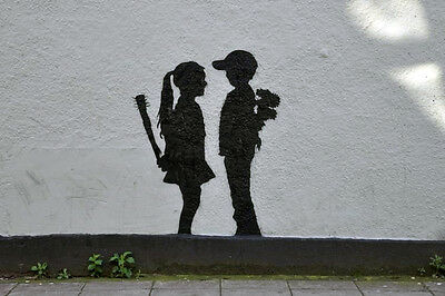 "Banksy -Boy Meets Girl Canvas 24""x36"" Print Urban Graffiti"