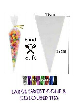 LARGE CLEAR CONE Cello Bags & METALLIC Twist tie sweet Gift Candy Party 37x18cm